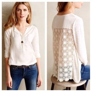 KNITTED & KNOTTED cream Crochet back Verso top L